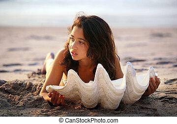 menina, com, seashell