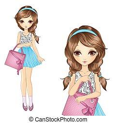 menina, com, shopping, cor-de-rosa, saco