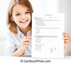 menina, com, teste, e, grau, em, escola