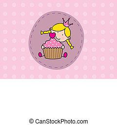 menina, com, um, bolo
