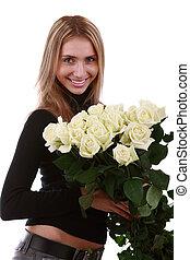 menina, com, um, grupo flores