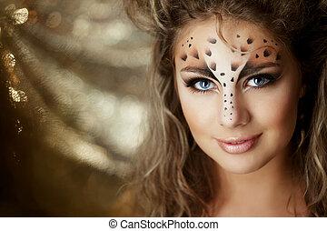 menina, com, um, incomum, maquiagem, como, um, leopardo