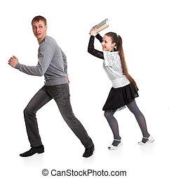 menina, com, um, livro, em, dela, mãos, correu, sobre, namorado