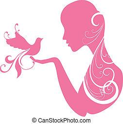 menina, com, um, pássaro