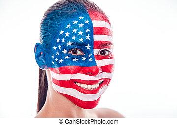 menina, com, um, pintado, bandeira americana, closeup