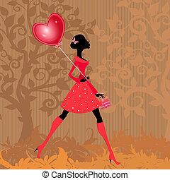 menina, com, um, valentines, balloon