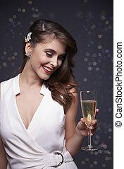 menina, com, um, vidro champanhe