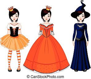menina, com, vestidos, para, partido halloween
