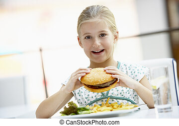 menina, comendo lunch, em, um, café