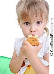 menina, comer, cake.