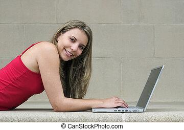 menina, computador
