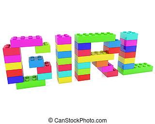 menina, conceito, construído, de, brinquedo, bricks.3d, ilustração