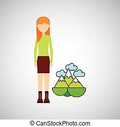 menina, conceito, ecológico, paisagem