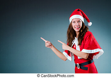 menina, conceito, neve, santa, natal