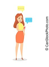 menina, conversando, online