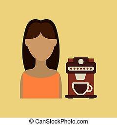 menina, copo de papel, café, palha, ícone, gráfico