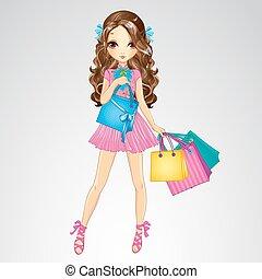 menina, cor-de-rosa, shopping, vestido