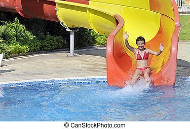 menina, corrediça baixo, vem, piscina