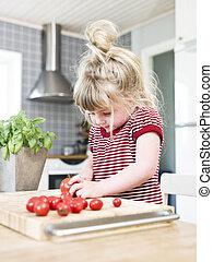 menina, corte, tomates
