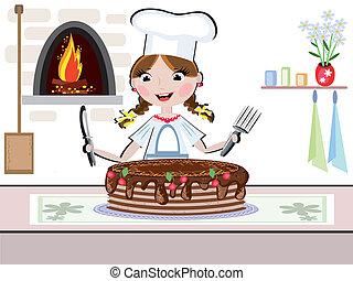 menina, cozinheiro