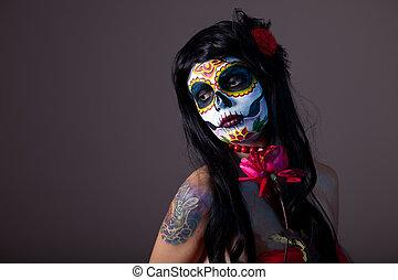 menina, cranio, vermelho, açúcar, rosa