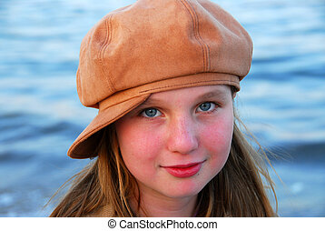 menina, criança, chapéu