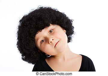 menina, criança, com, afro, wig.