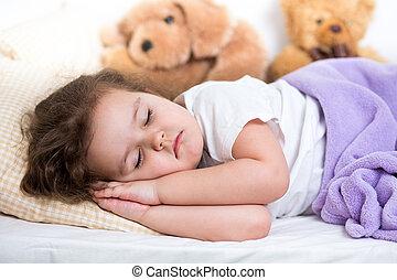 menina, criança, dormir