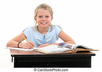 menina, criança, escola