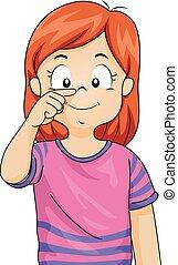 menina, criança, nariz, ilustração, ponto