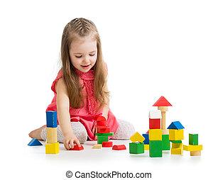 menina, criança, tocando, bloco, brinquedos