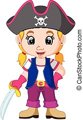 menina, crianças, pirata, caricatura