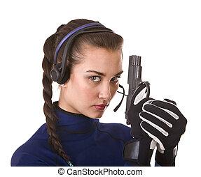 menina, customer., apoio, arma