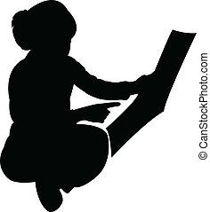 menina, cute, estudar, vecto, silueta