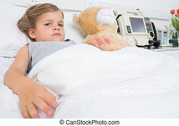 menina, cute, mentindo, cama hospital