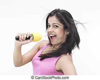 menina, dela, microfone, cantando