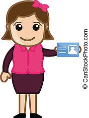 menina, dela, mostrando, cartão, identidade