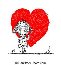 menina, delinear, coração vermelho, cartão valentine, esboço, para, seu, desenho