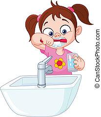 menina, dentes escovando