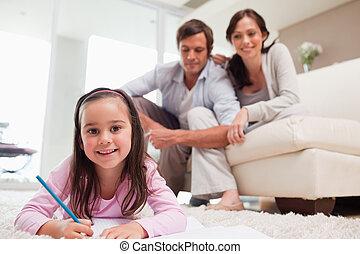 menina, desenho, com, dela, pais, em, a, fundo
