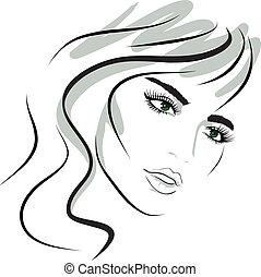 menina, desenho, face., beleza, elements.