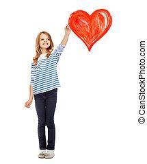 menina, desenho, grande, coração vermelho, ar