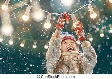 menina, desfrutando, a, feriados