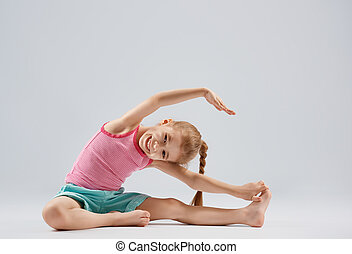 menina, desfrutando, ioga