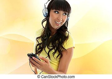 menina, desfrutando, música