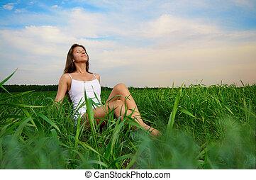 menina, desfrutando, verão