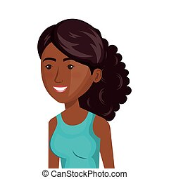 menina, desporto, caricatura, ícone