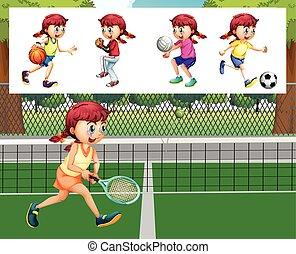 menina, diferente, esportes