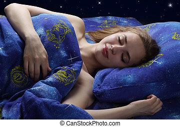 menina, dormir, noturna