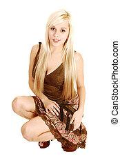 menina, dress., crouching
